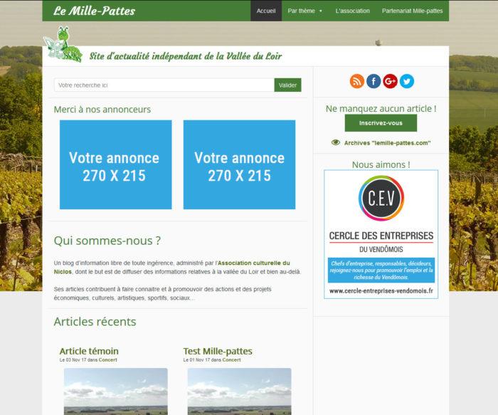 Publicité sur le mille-pattes.info